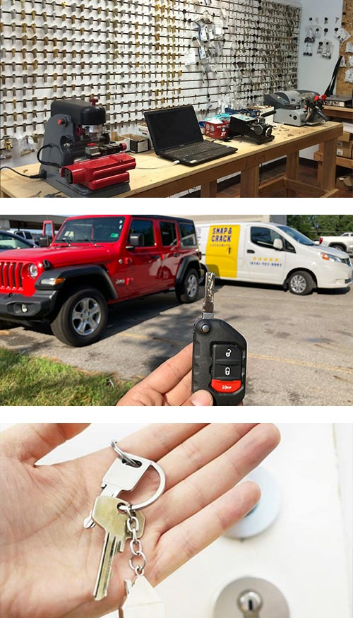 image of showroom with the wall of key blanks, 2 key cutting machines and a laptop (top), our locksmith van on-site for a Jeep key duplication (middle), and an extra set of house keys (bottom).