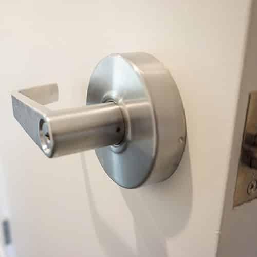 Commercial-grade door handle with lock