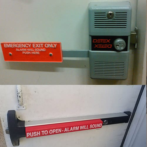 two types of commercial door panic devices