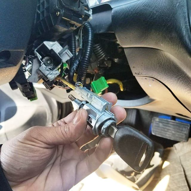 image of a car ignition lock that's been removed for repair