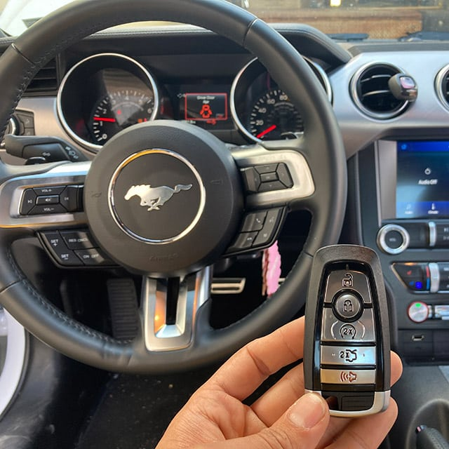 Newly-programmed remote for a happy Mustang owner.