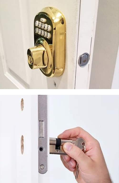image of a residential keypad lock installed (top) and a residential mortise lock with the lock cylinder removed for rekeying (bottom)