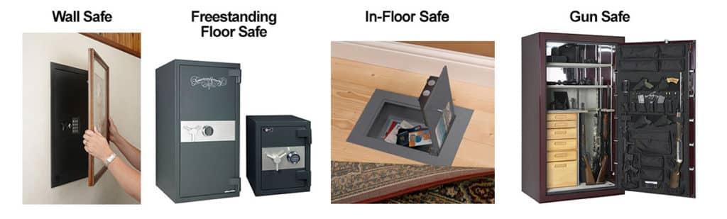 image of 4 safe types: Wall safes, freestanding floor safe, in-floor safes, gun safes