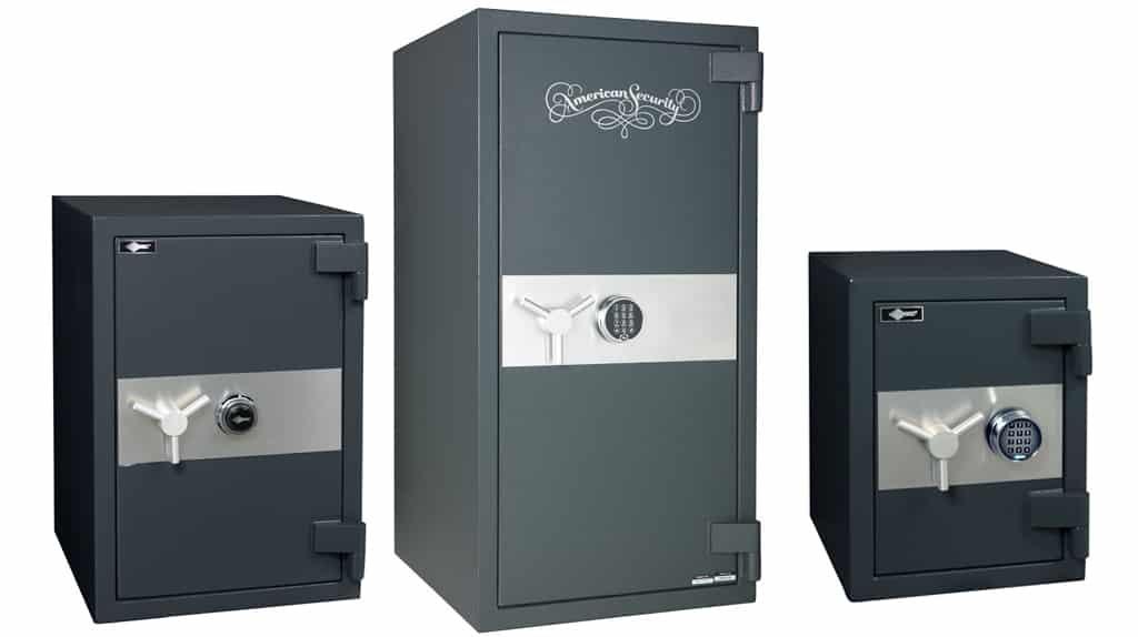 image of three different sizes of Amsec freestanding floor safes