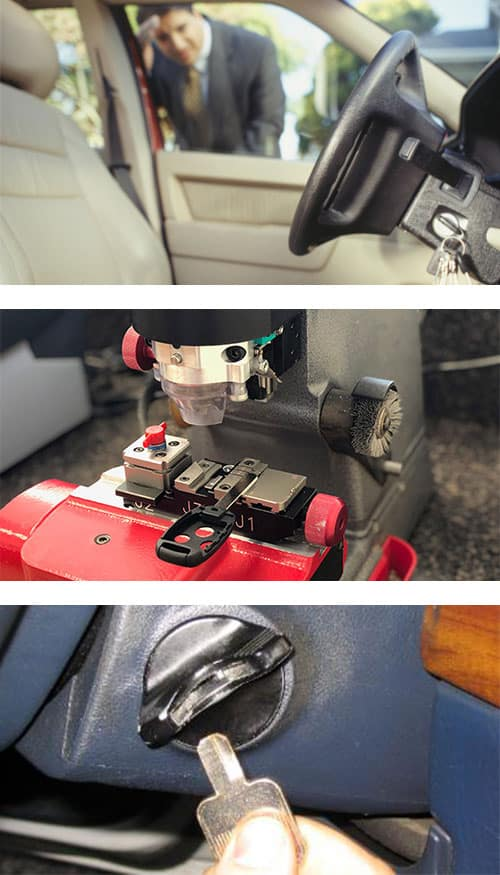 Guy looking at his keys that he's locked in his car (top), cutting a car key with a laser cutter (middle), and a car key broken off in the ignition lock (bottom).